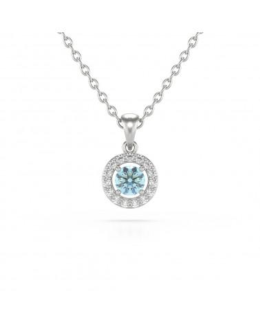 925 Silver Aquamarine Diamonds Necklace Pendant Chain included ADEN - 1