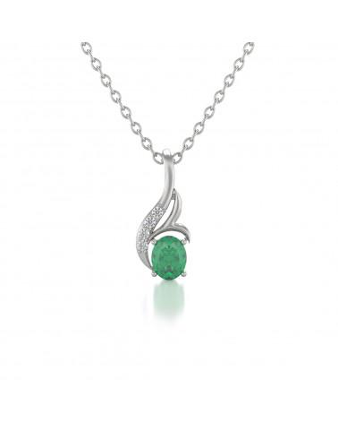 Colgante Pendente in Oro 14K Smeraldo Diamanti Catena Oro inclusa ADEN - 1